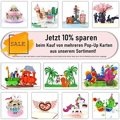 3D Geburtstagskarte – Dampflok Karte für Kinder: Eisenbahn mit bunten Tieren – Handgefertigte Klappkarte mit Umschlag, Pop-Up 3D-Karte zum Geburtstag - 2