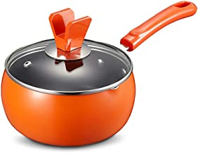 Saucepan with Lid Stock Pot Nonstick Milk Pan Cooking Pot for Soup, Stew, Sauce, Pasta & Reheat Food (Color : Orange)
