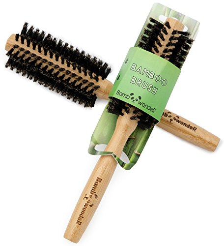 Bamboo Round Brush, 100% Natural Hair Brush with very soft Boar Bristles & Slip-Free Ergonomic Bamboo Handle for Healthy & Shiny Hair, Professional Hair Detangler Comb, By Bamboo Wonder
