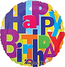 Anagram International Hx Bright Birthday Letters Balloon, Multicolor