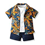 Tem Doger Toddler Baby Boys 2pcs Summer Floral Print T-Shirt Tops+ Shorts Clothes Set Outfit 9 mos.-8T (Navy Blue, 5-6 Years)