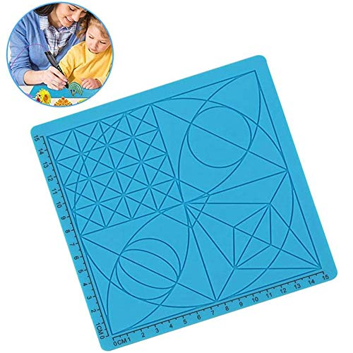 JIASHU 3D Printing Pen Mat, Silicone Doodle Pad, with Basic Geometric Template Multi-purpose Design, Basic for Kid or Adult / 6.69 * 6.69 * 0.91 Inch