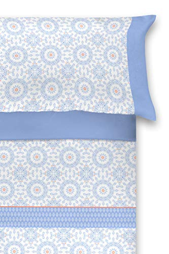 El Barco Juego de Sábanas Estampadas. Algodon - Poliester. 3 Piezas. Tamaño Matrimonio. Suave y Resistente. Bonito Diseño Paloma Azul. Cama 135 cm.