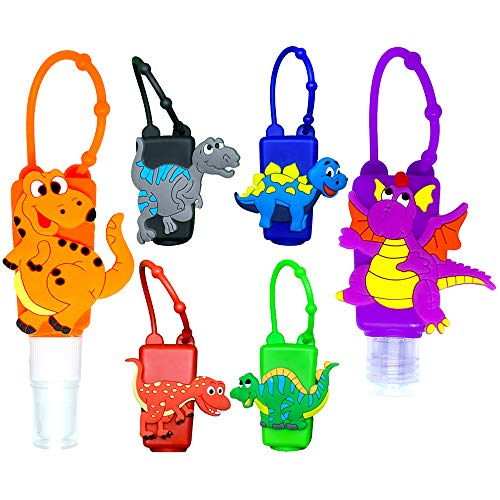 MimeHime Hand Sanitizer Holder Keychain 6pack w/Squeeze AND Spray: 1oz Small Travel Size, Leak Proof Empty Bottles w/Hook Hanging for Backpack, Belt, Pocket, Pocketbac, Purse, Car (dinosaur)