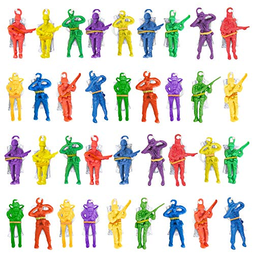 ArtCreativity Mini Paratroopers with Parachutes, Bulk Pack of 36, Vinyl Parachute Men Toy in Assorted Colors, Durable Plastic Army Guys Playset, Fun Parachute Party Favors, for Boys and Girls