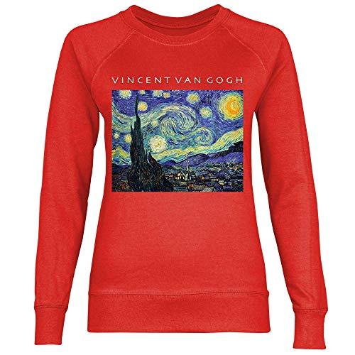 wowshirt Damen Sweatshirt Van Gogh Sternennacht Kunst Gemälde Art, Größe:L, Farbe:Red