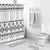 4PCS / Set Cortina de Ducha, Juegos de Tapa de Inodoro con Alfombra Antideslizante Alfombra de baño Baño, Ganchos, Fondo de Textura de mármol Rombo geométrico 180x180cm