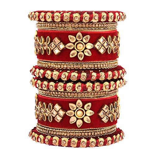 Efulgenz Indisches Armreif-Set CZ Kristall Kundan Hochzeit Braut Seide Faden Samt Armreif Armbänder Schmuck für Frauen Mädchen (Set von 10)