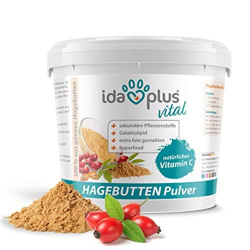 Ida Plus - Hagebuttenpulver 1 kg XXL Packung (besonders ergiebig) – in Arzneimittelqualität – mit hohem Gehalt an Vitamin C EIN für Starkes Immunsystem – Barf geeignet – Superfood - 100% natürlich