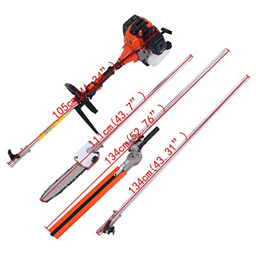 Iglobalbuy 52cc 2-Stroke 5 in 1 Long Reach Pole Chainsaw Hedge Trimmer Brush...