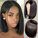 Bob Wig Human Hair 4x4 Lace Closure Short Bob Wigs CCOLLEGE Glueless Brazilian Silky Straight Wig For Black Women Remy Hair Natural Color 8 Inch