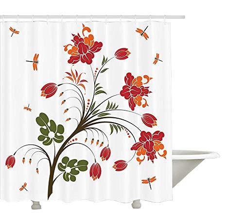 Yeuss Country Decor Collection, blühende lebendige Blüte-Illustration mit kleinen Libellen Exquisite Habitat-Bild, Bad-Duschvorhang aus Polyestergewebe mit Haken, rot-orange