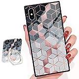 Shiny Rose Gold Gradient Cubes Design Square Phone Case iPhone Xs Max Retro Elegant Design Phone Cover Square Soft TPU Case for iPhone Xs Max 6.5inch