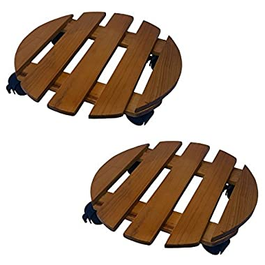 2 Pack of 14 Inch Round Wood Roller Planter Caddy Fruitwood Slatted Wheel Plant