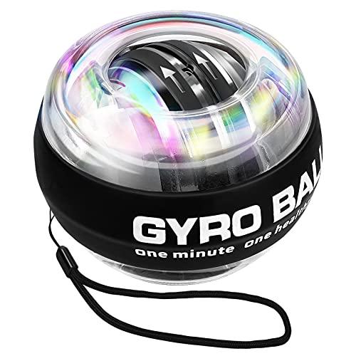 Gyroskopische Trainingsgeräte, LED Handgelenk Trainer Autostart, Griffkraft Trainer Ball mit Entspannendem LED-Licht zur Rehabilitation, Aufwärmen, Muskelentspannung, Tragetasche inklusive, 1 Packung