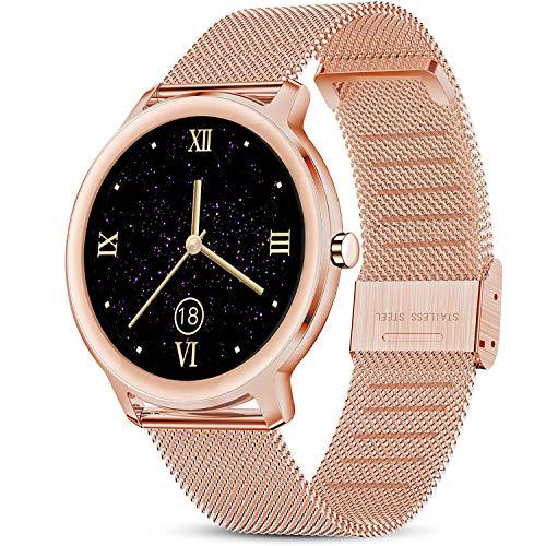 LIGE Smartwatch, Reloj Inteligente Mujer, Resistente al Agua IP67, con Pantalla Táctil Completa de 1,1'', Monitor de Frecuencia Cardíaca, Reloj para Mujer con Pulsera de Malla para Android e iOS