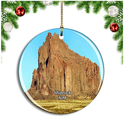 Shiprock New Mexico USA Christmas Ornament Xmas Tree Decoration Hanging Pendant Travel Souvenir Collection Double Sided Porcelain 2.85 Inch