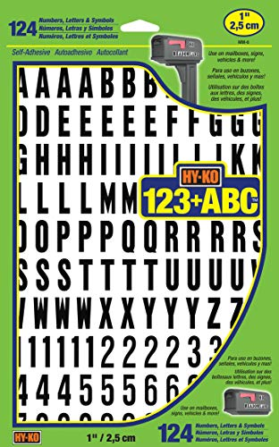Hy-Ko Products MM-6 Self Adhesive Vinyl Numbers and Letters 1' High, Black & White, 124 Pieces
