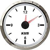 KUS Clock Meter Gauge 12-Hour Format with Backlight 52mm(2') 12V/24V