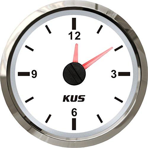 """KUS Clock Meter Gauge 12-Hour Format with Backlight 52mm(2"""") 12V/24V"""