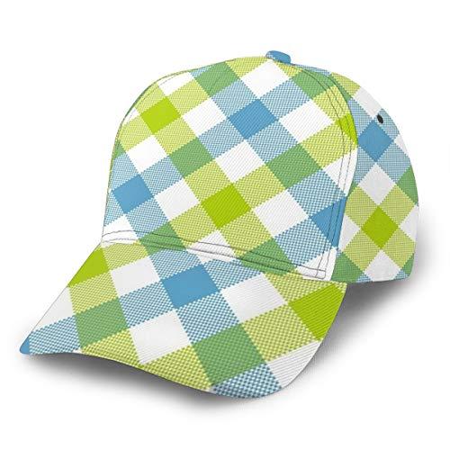 LilyNa Kappe Blaues Grün-diagonales Kariertes Kariertes nahtloses Muster Baseball Cap