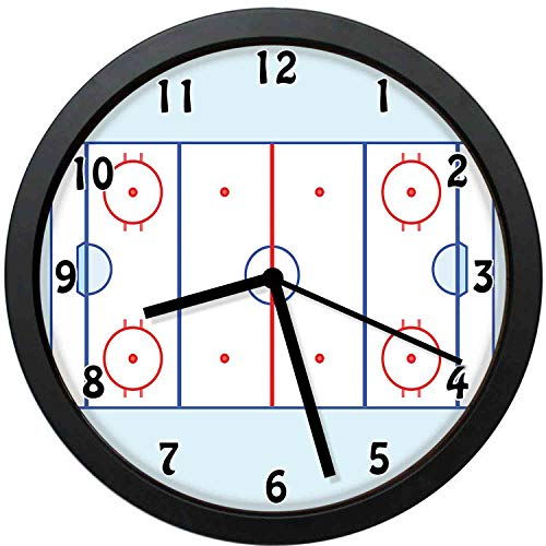 YiiHaanBuy Ice Hockey Field in Blue Tones and Red Outline for Sport Events-Silent Quartz Movement,Round Decorative Wall Clock,The Best gift-12inch