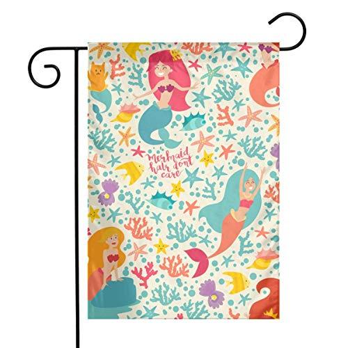 N/A Karikatur kleine Meerjungfrau, Muschel, Fisch und Katze. Unter dem Meer Sommer Muster Home Vertikal Einseitig 12 x 18 Zoll