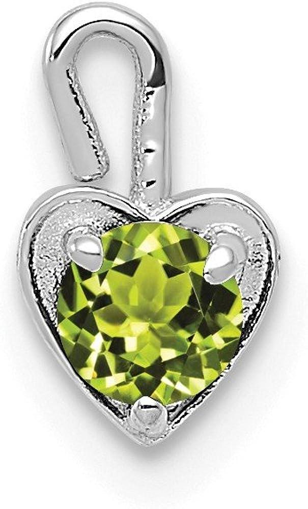 Black Bow Jewelry Aug Synthetic Peridot 14k White Gold Heart Pendant Enhancer, 5mm