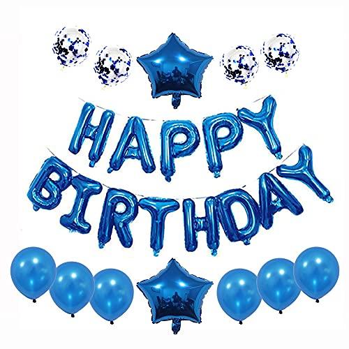 Aloces Decoración de cumpleaños de color azul real, juego de globos con confeti, globos con letras, globos de cumpleaños, festivales, decoración, guirnalda, globos