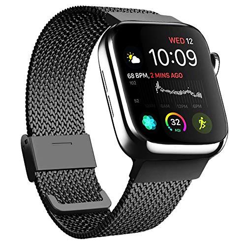 Meliya kompatibel mit Apple Watch Armband 38mm 40mm 42mm 44mm, Metall Edelstahl Ersatzarmband für iWatch Series 5 4 3 2 1 (01 Schwarz, 42mm/44mm)