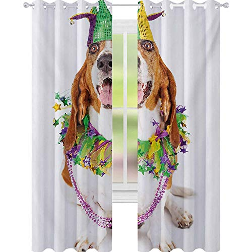 YUAZHOQI Mardi Gras Curtains for Bedroom Happy Smiling Basset Hound Dog Wearing a Jester Hat Neck Garland Bead Necklace 52' x 72' Blackout Draperies for Bedroom Multicolor