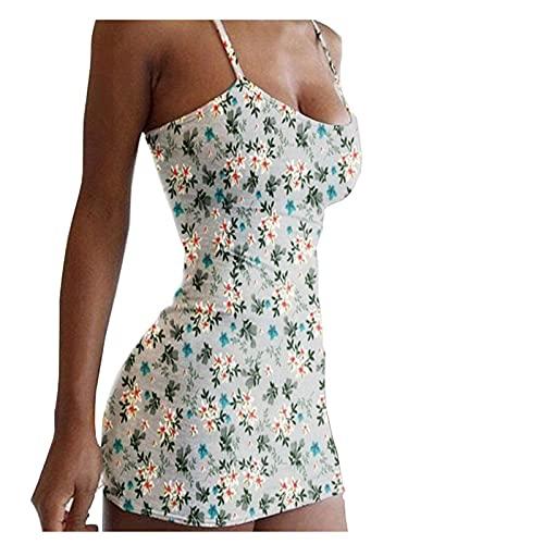 Liably Vestido de mujer bohemio con estampado floral, sexy, minivestido fino, vestido de playa, verano,...
