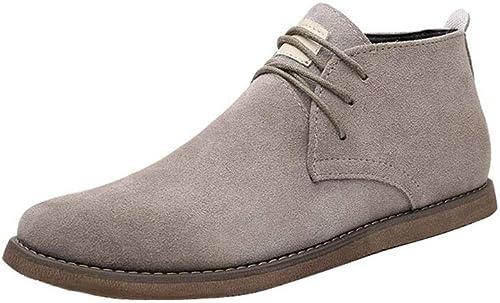FF Hommes Chaussures Moyennes Chaussures en Daim Hommes Chaussures Martin Faible Aidez-moi (Couleur   Beige, Taille   EU39 UK6.5 CN40)