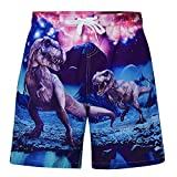 uideazone Boy's Quick Dry Swim Trunks Dino Waterproof Beach Board Shorts Drawstring Waist Bathing Suits with Mesh Lining