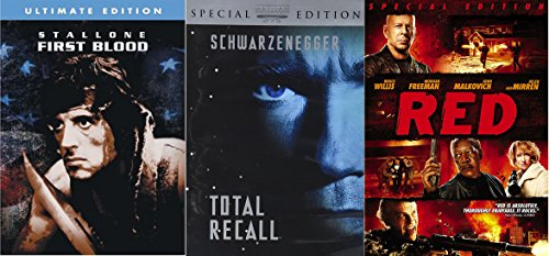 First Blood + Red Heat + Total Recall 3 Feature Arnold Sly & Bruce Action Sci-Fi-Fi Movie Collection Set