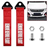 2 Pack Car Racing Tow Straps, MELIFE Tow Straps Universal Cars Set Belt Nylon Tow Straps Traction Rope Trailer Hooks for Rear or Front Bumper Decorative Trailer Belts - Remove b4 Flight