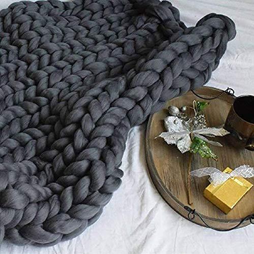 HTDG Chunky Gebreide deken, grof gebreide deken, wol, garen, arm, super grote handgeweven deken, sofadeken, handgeweven, blokkeerbare deken, huisdier, bed, stoel, sofa, yogamat, tapijt