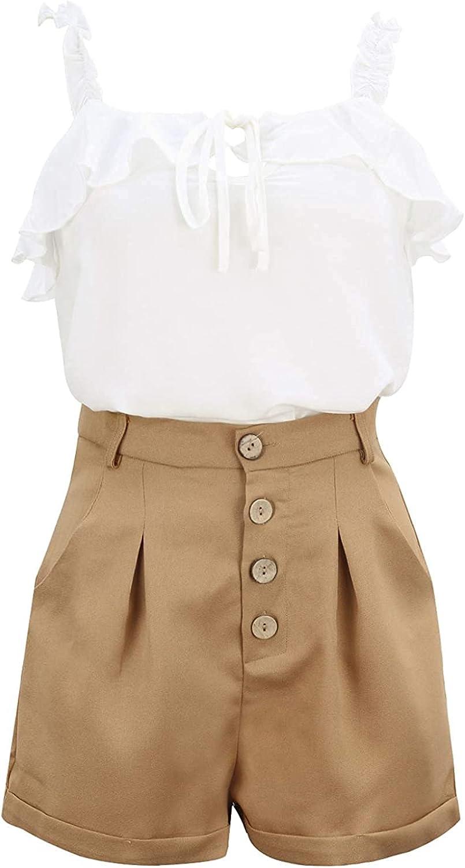 Women's Vacation Leisure Vest Shorts Suit Simplicity Fashion High Waist Buttons