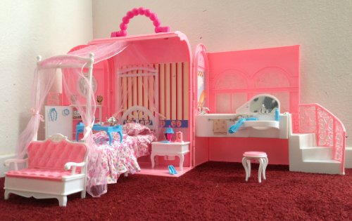 Gloria Deluxe Bed & Bath Room for Barbie Dolls: Hangbag with Bed and Bath Room