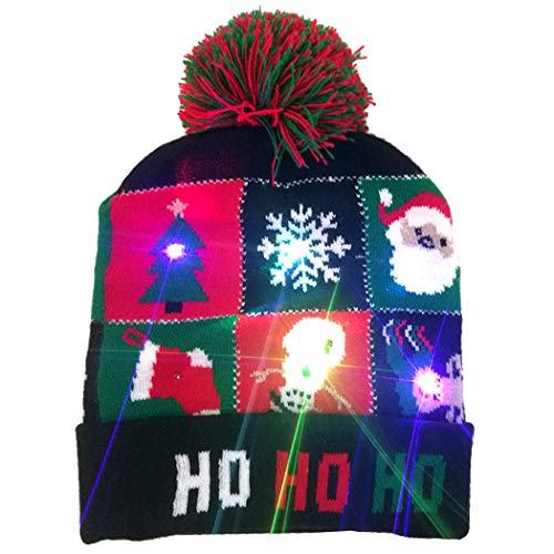 Kapmore LED verlichte hoed muts breien, LED Xmas Kerstmis hoed muts Kerstmis muts hoed schattig cartoon patroon LED Light gebreide muts voor mannen vrouwen