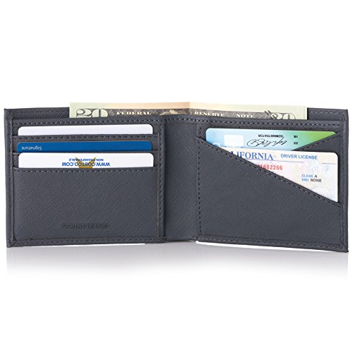 Double Diamond Mens RFID Bifold Wallet with Divided Bill Section Crosshatch Gray