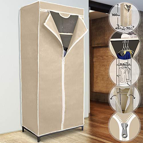 MIADOMODO Mobiler Kleiderschrank - 70x160x45 cm, mit Kleiderstange und Ablage, Reißverschluss, Beige - Faltschrank, Stoffschrank, Campingschrank, Garderobe, Faltkleiderschrank, Stoffkleiderschrank
