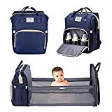 ituansen Baby Diaper Bag Backpack for Travel - Portable Nappy Bag with Changing Pad & Stroller Straps, Foldable Baby Bed Travel Bassinet, Waterproof Newborn Diaper Bag Tote (Navy)