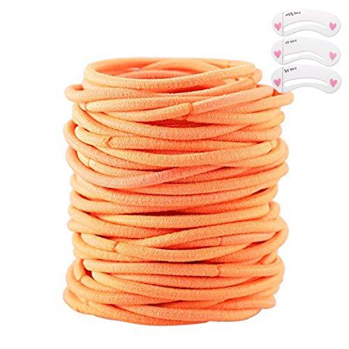 Coobbar 100pcs Women Elastic Hair Ties Band Ropes Ring Ponytail Holder (Orange)