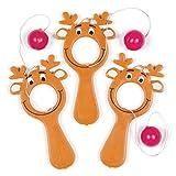 Mini Racchette Bucate a forma di Renna con Elastico e Pallina Baker Ross (confezione da 5)- Novità giocattoli e decorazioni per bambini, perfetti come giocattoli o regalini