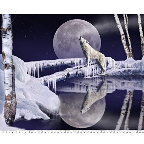 Winter Wolf Moon Digital Cotton Print Fabric Panel