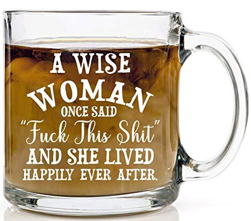 Taza con texto en inglés 'FCK This Shit' and Lived Happily Ever After – Gran regalo sarcástico para ella, esposa, mamá, dama jefe, amistad, cumpleaños novia, mejor amiga, vidrio de 14 oz