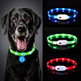 Oladwolf Light Up Dog Collar, LED Dog Collar Lights for the Dark, Ultra Bright USB Rechargeable Cut to Fit Any Size Flashing Dog & Cat Collar Waterproof