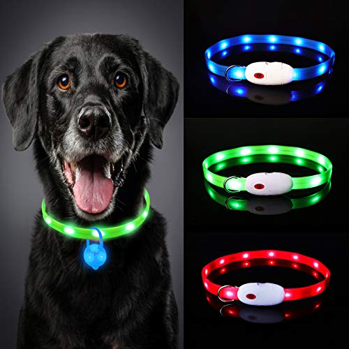 Oladwolf Collar Luminoso Perro, USB Recargable Collar Perro luz Seguro 3 Modos, Collar LED Impermeable Ajustable para Perro y Gato Menos 20kg - Verde