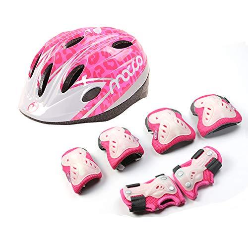 LHWQAN Casco de Bicicletas para niños, Casco para niños, Almohadillas de Rodilla Anti-otoño, Adecuado para Patines, patinetas, Bicicletas de Equilibrio, Scooters y Scooters Pink-M
